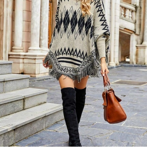 Knit Fringe Maxi Cuff Poncho Sweater
